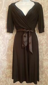Tea length black dress